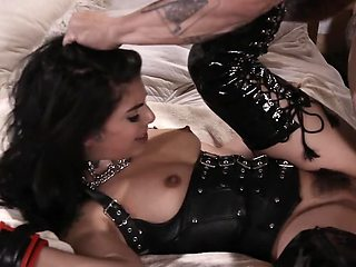 Bald guy and tiny Latina mistress have fetish sex in bed