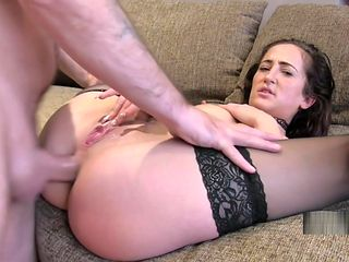 Babe in stockings gets anal casting