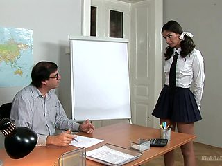 Fine ass coed gets punished for her professor and then masturbates for him
