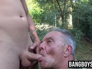 Young man drills the throat and ass hole of an old gay dude