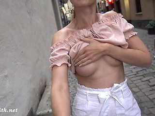Jeny Smith flashing her perfect tits to strangers on the street while taking a selfie