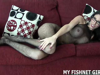 Rub your big cock of my fishnet body stocking JOI