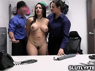 Pervy Security Officers Fucks Shoplifter Teen With Serena Santos
