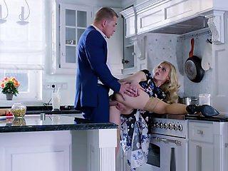 Elegant Brittany Bardot in the Kitchen