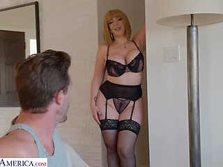 Curvaceous mommy in sexy lingerie Sara Jay seduces young stepson