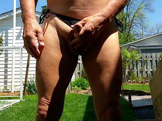 I masturbate in a bikini in my backyard