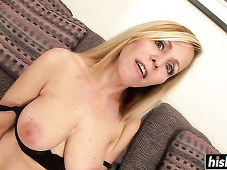 Blonde mommy is fucked and covered