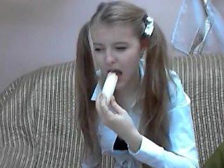 Russian webcam girl Merysimpson eats banana