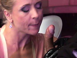 Dirty busty blonde latex babe enjoys a good fuck
