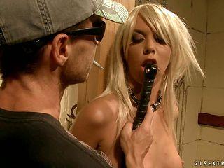 Blonde minx gagging on throbbing sausage of hot guy