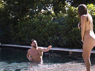 Outdoors video of amazing fucking with stunning neighbor Havana Bleu
