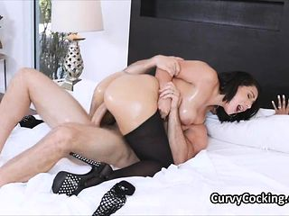 Fat ass curvy Latina oiled then rimmed and fucked