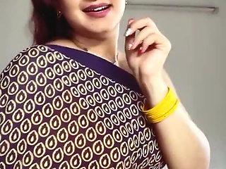 sexy Indian Aunty Sexy Yellow Sleeveless Saree