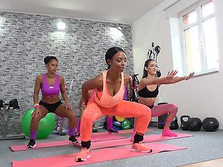 Flexi babes are having a naughty lesbian affair during their yoga class