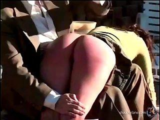 Samantha and sierra get an outdoor spanking