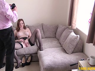 Zara Durose plays with her cunt during casting and gets fucked
