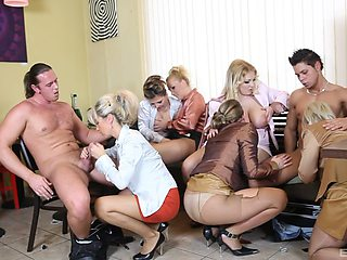 Female orgy with a couple of strippers with huge dicks