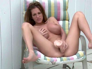 Sexy Big Tit Masturbates with Dildo in backyard MASSIVE SQUIRT Step Sister