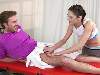Skinny doll knows the right treat for this guy's huge dick