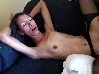 Young Skinny Girl in Fuckme Dress Spreads, Sucks and Fucks with Cum on Face