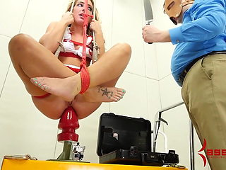 Nurse Savannah Fox fucked in ass and dropped onto huge dildo
