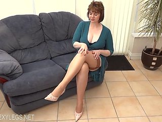 Perfect milf in stockings and blue dress