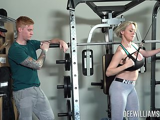 Rough sex at the gym is all about horny blonde Dee Williams talking