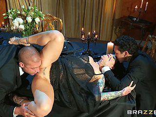 Married slut gets intimate with two men