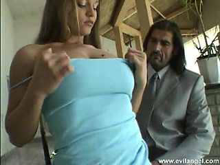 Luscious realty babe with a nice ass getting double penetrated in a kinky mmf threesome
