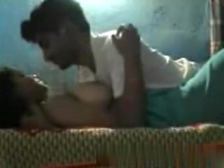 Chubby indian girl with big boobs and hairy pussy has sex with her bf in her bedroom
