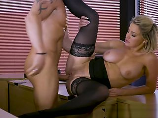Office babe doggystyled in stockings