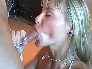 Hot Blonde With Big Tits Worships Cock and Swallows Cum