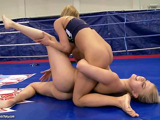 Extreme lesbian wrestling with naked Nikky Thorne and Brandy Smile