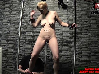 German bondage fetish BDSM session with blond amateur slave