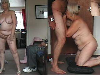 67 yo Granny dancing naked, cock sucking and cum drinking