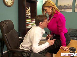 Horn-mad sexy curvy MILFie secretary is fucked doggy really hard