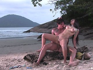 Romantic outdoor sex at the beach with moaning babe Monica Mattos