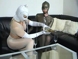 Two Babes In Pantyhose Nylon Encasement Fetish And Latex Body Lesbian Sex