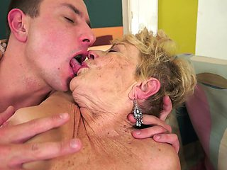 Granny with a nice hairy old ass is fucked doggy style