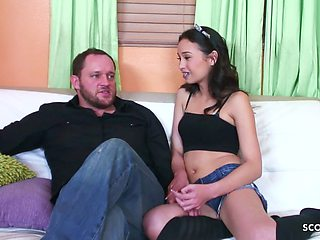 Skinny Braces Daughter Seduce Step Dad to Fuck when Mom away