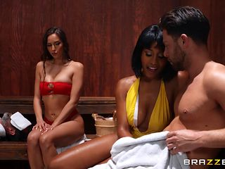 interracial mff threesome in the sauna