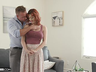 Redhead with big naturals, hot daddy cam porn at home