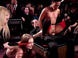 Inked guy and blonde dominatrix humiliate sluts during party