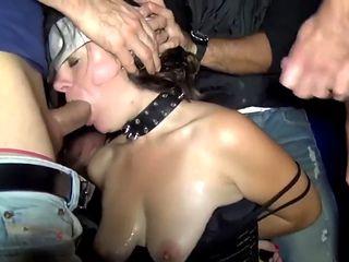 Pantyhose slutwife takes 70 men in anal bukkake