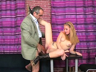 Mischievous young darling chokes on fat boner