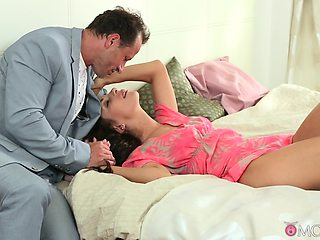 Insolent babe shares wonderful sex moments in bed with step daddy
