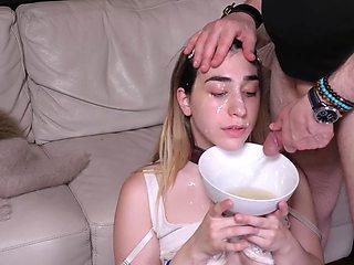 Ass licking teen sub gets a facial