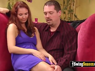A lusty room full of hot swinger couples swapping partners and fucking