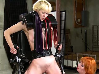 Cute blonde tomboi chick gets disciplined by her GF