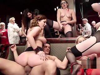 Blonde mistress bangs sub at orgy party